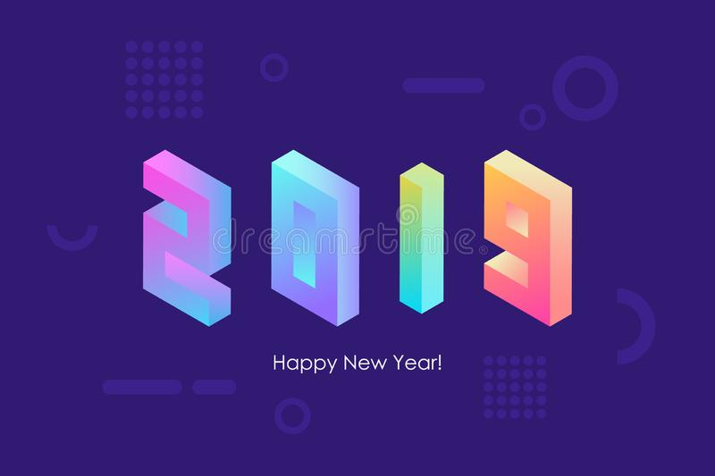 2019 Happy New Year isometric text design with trendy bright neon gradients for holiday greetings and invitations. royalty free illustration