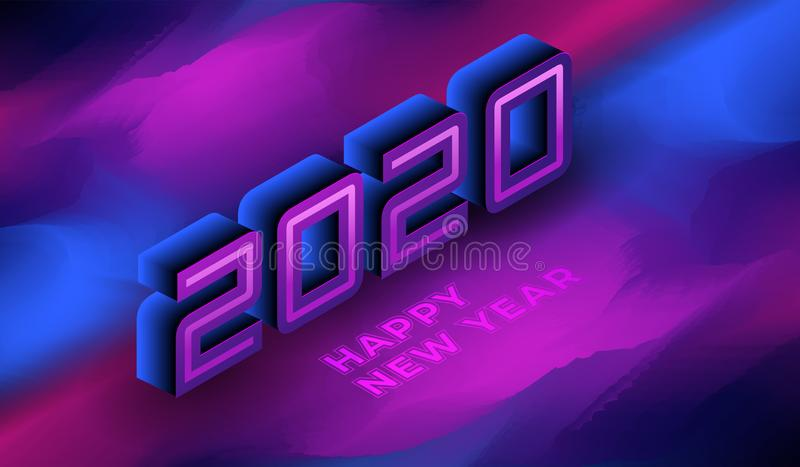 Happy New 2020 Year isometric violet background. royalty free stock image