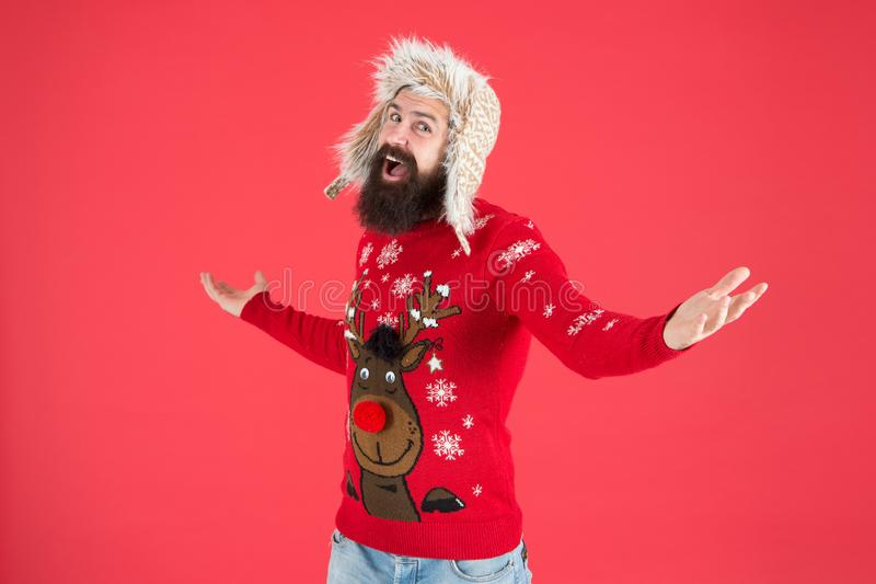 Happy new year. Join holiday party craze and host Ugly Christmas Sweater Party. Winter party outfit. Invitation ugly. Sweaters party. Sweater with deer. Hipster stock photo