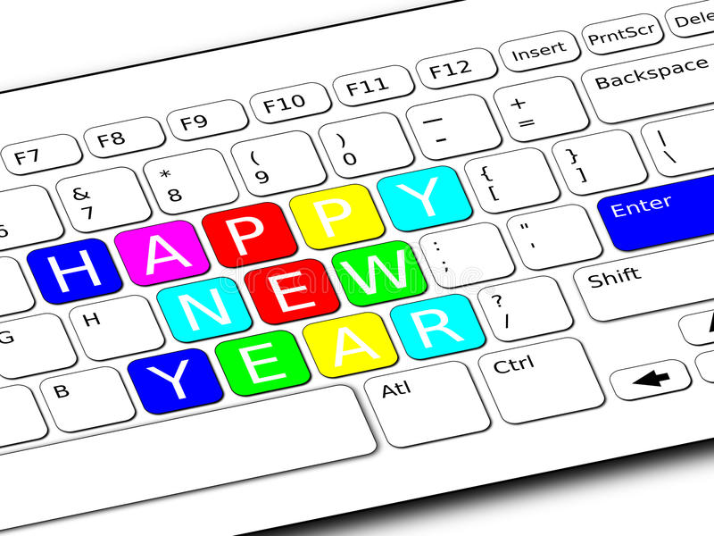 Happy New Year Keyboard. A computer keyboard with the Happy New Year in colored keys stock illustration