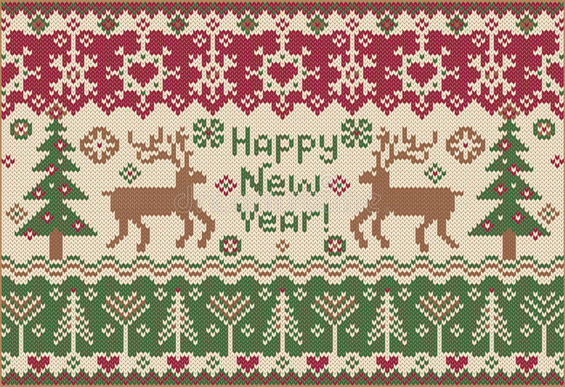 Happy New Year! Knitted Style Stock Photo