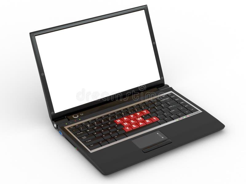 Happy new year laptop keyboard royalty free illustration