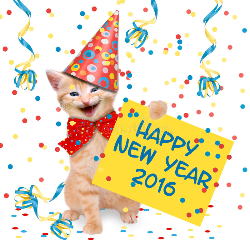 Happy New Year 2016. Laughing cat with glass of champagne and party hat Happy New Year 2016 royalty free stock image