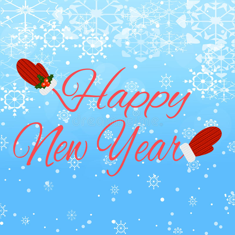 Happy New Year lettering on blue background stock photo