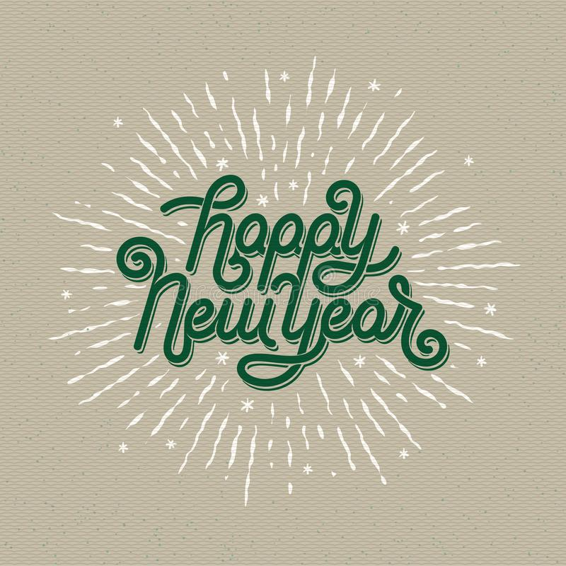 Happy New Year Lettering with burst rays. Holiday Vector Illustration. Lettering Composition And Light Rays Or Sunburst royalty free illustration