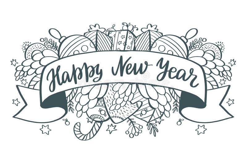 Happy new year - lettering Christmas holiday calligraphy phrase stock illustration