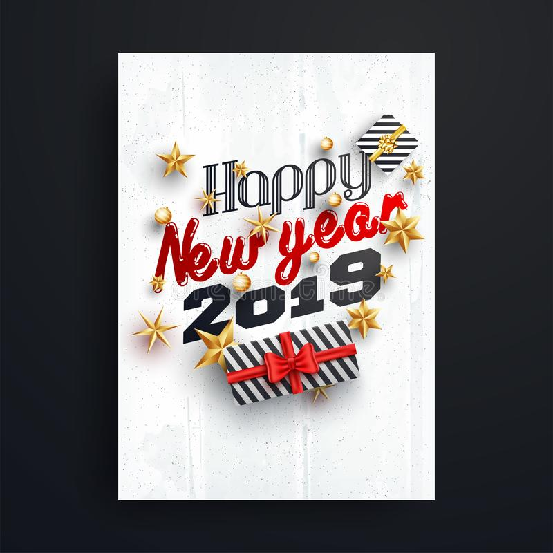 Happy New Year 2019 lettering decorated with golden stars and ba vector illustration