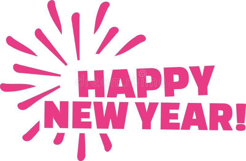 Happy new year lettering stock illustration