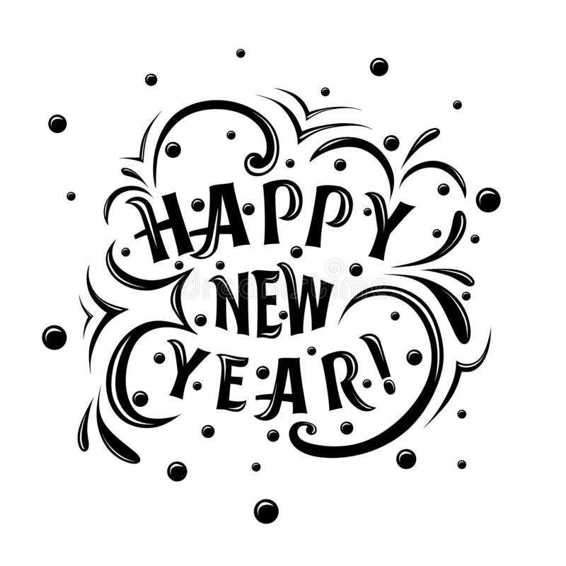 Happy New Year! lettering inscription. With curls and snow, vector eps 10 stock illustration