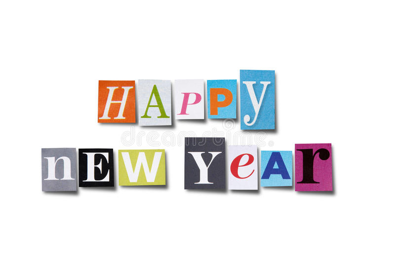 Happy New Year. Letters cut from magazines spelling Happy New Year, isolated on white with path royalty free stock image
