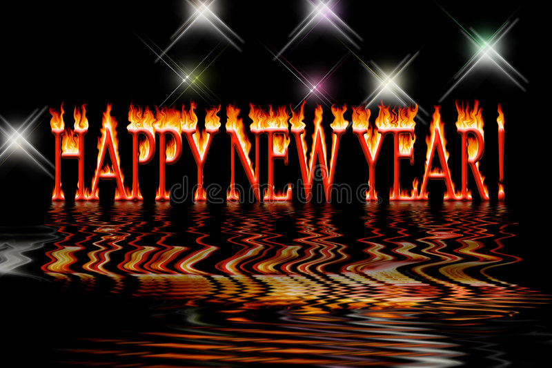 Happy new year letters in fire flooding water royalty free illustration