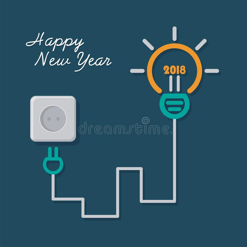 Happy New Year 2018 with light bulb illustration design stock illustration
