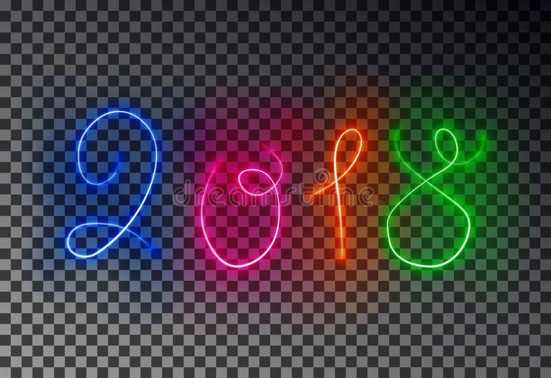 Happy 2018 New Year light line. Glowing magic color line effect isolated on transparent background. royalty free illustration