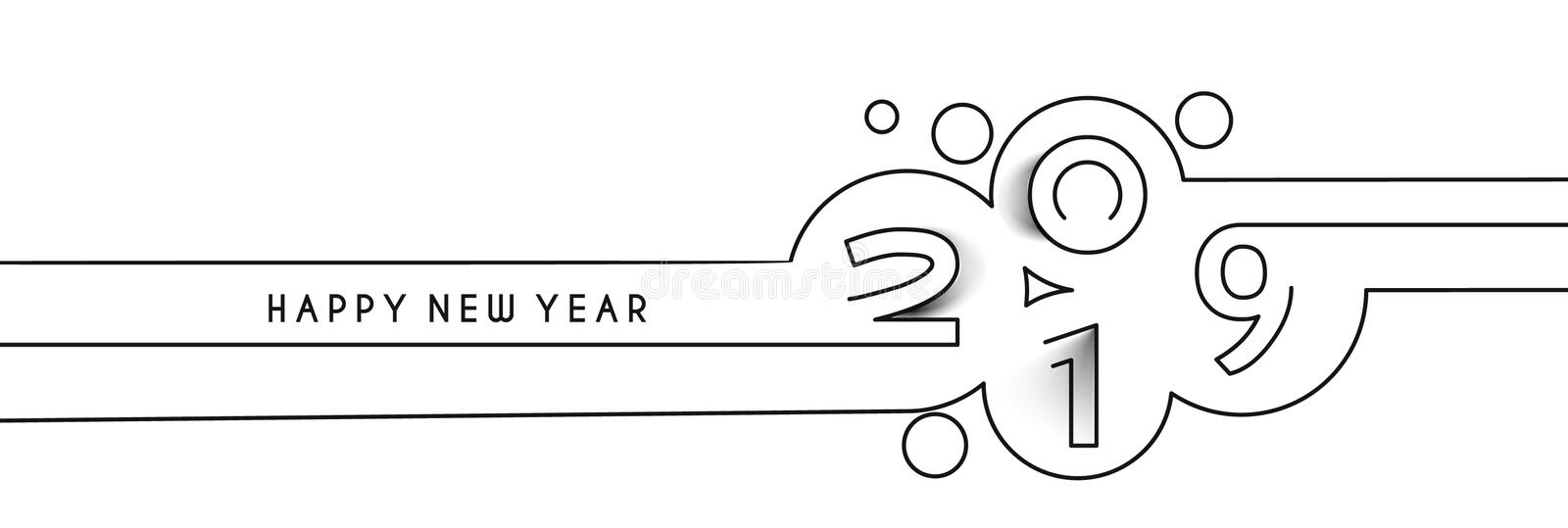 Happy New Year 2019 Line Text Design. Vector illustration royalty free illustration