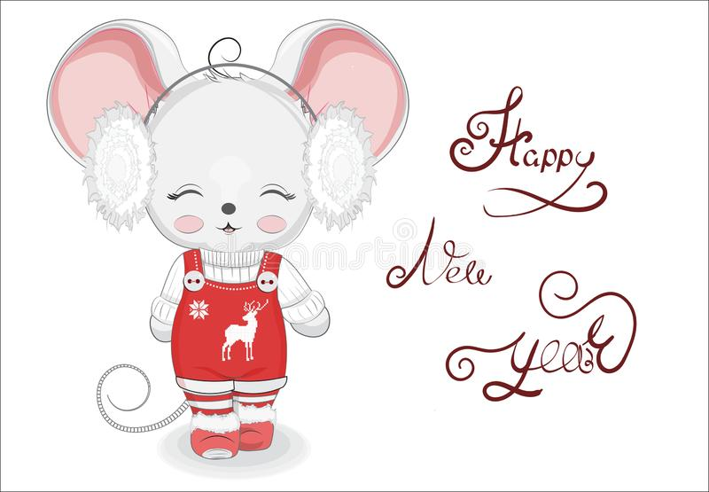 Happy new year Little mouse girl royalty free stock photos