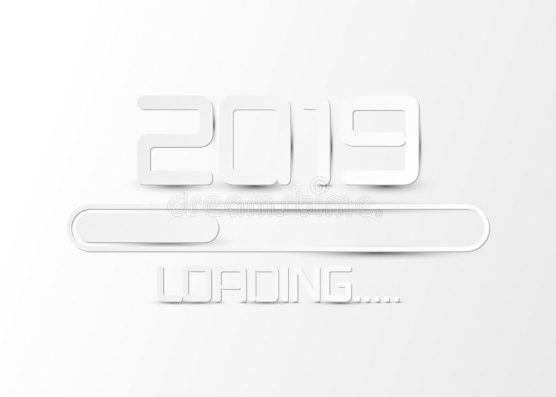 Happy 2019 new year card in paper style for your seasonal holidays flyers, greetings and invitations cards and Christmas themed. Happy 2019 new year loading bar vector illustration