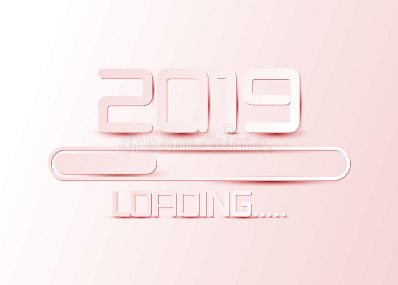 Happy 2019 new year card in paper style for your seasonal holidays flyers, greetings and invitations cards and Christmas themed. Happy 2019 new year loading bar royalty free illustration
