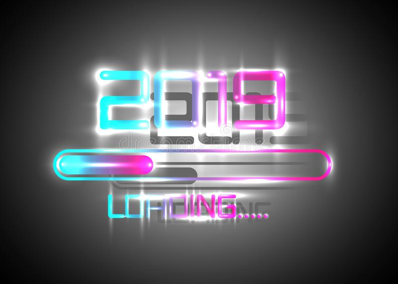 Happy new year 2019 with loading icon blue neon style. Progress bar almost reaching new year`s eve. Vector illustration neon 2019. Happy new year 2019 with royalty free illustration