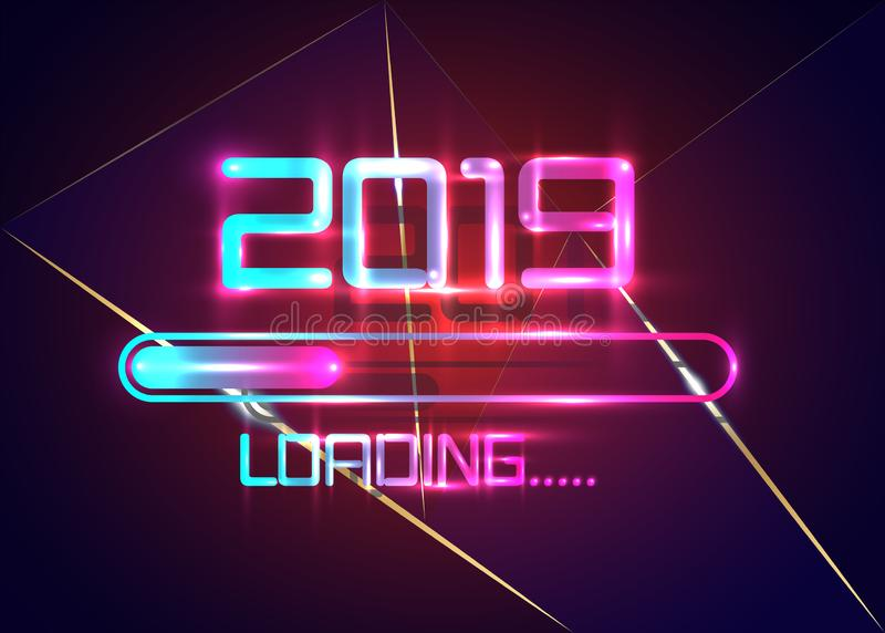 Happy new year 2019 with loading icon blue neon style. Progress bar almost reaching new year`s eve. Vector illustration neon 2019. Happy new year 2019 with vector illustration