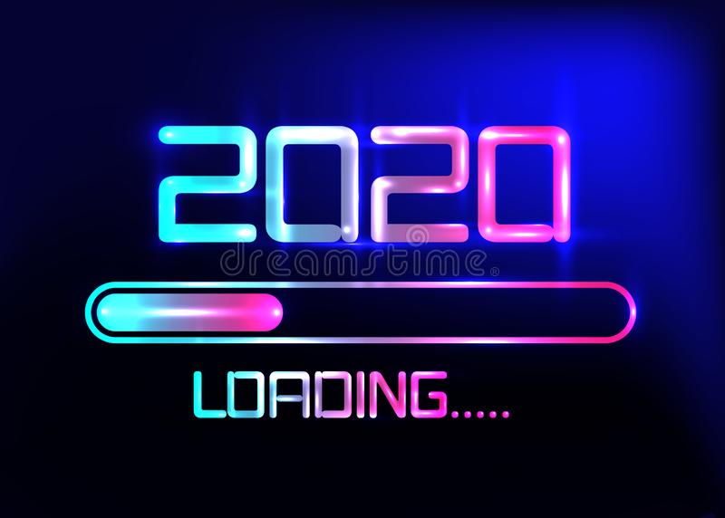Happy new year 2020 with loading icon blue neon style. Progress bar almost reaching new year`s eve. Vector illustration neon 2020 stock illustration