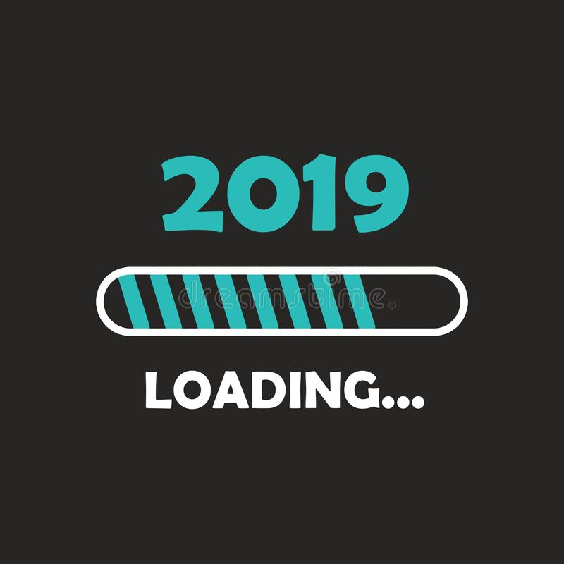 Happy new year 2019 with loading icon neon style. Progress bar almost reaching new year`s eve. illustration with 2019 loading. Isolated or dark gray black stock illustration
