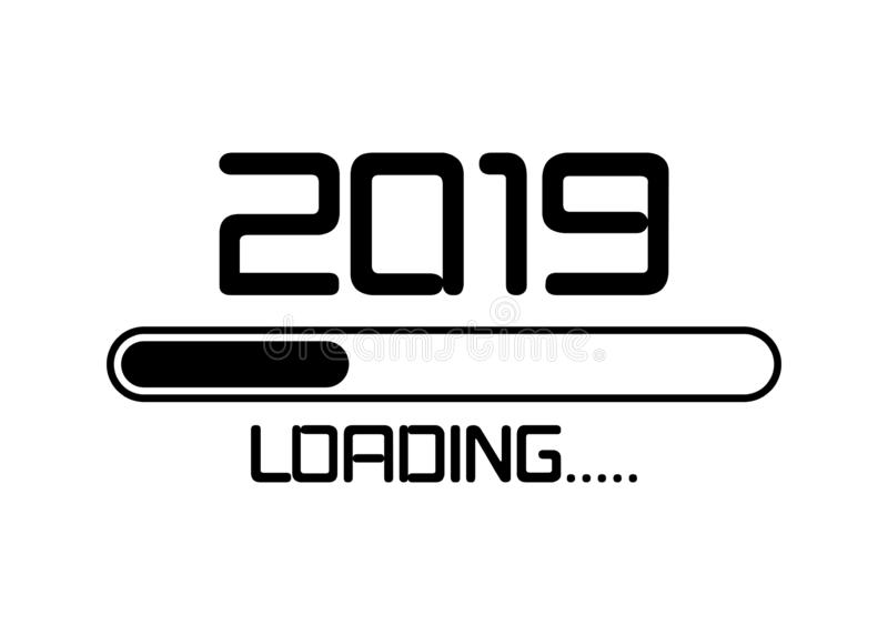 Happy new year 2019 with loading icon neon style. Progress bar almost reaching new year`s eve. Vector illustration with 2019 load. Ing. Isolated or white stock illustration