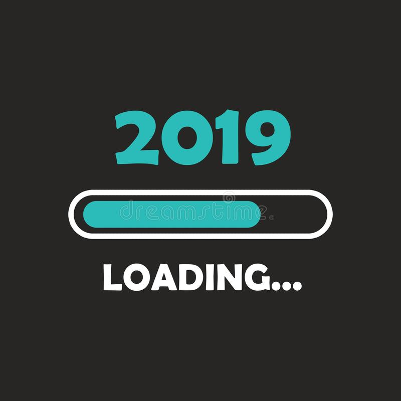Happy new year 2019 with loading icon neon style. Progress bar almost reaching new year`s eve. illustration with 2019 loading. Isolated or dark gray black vector illustration
