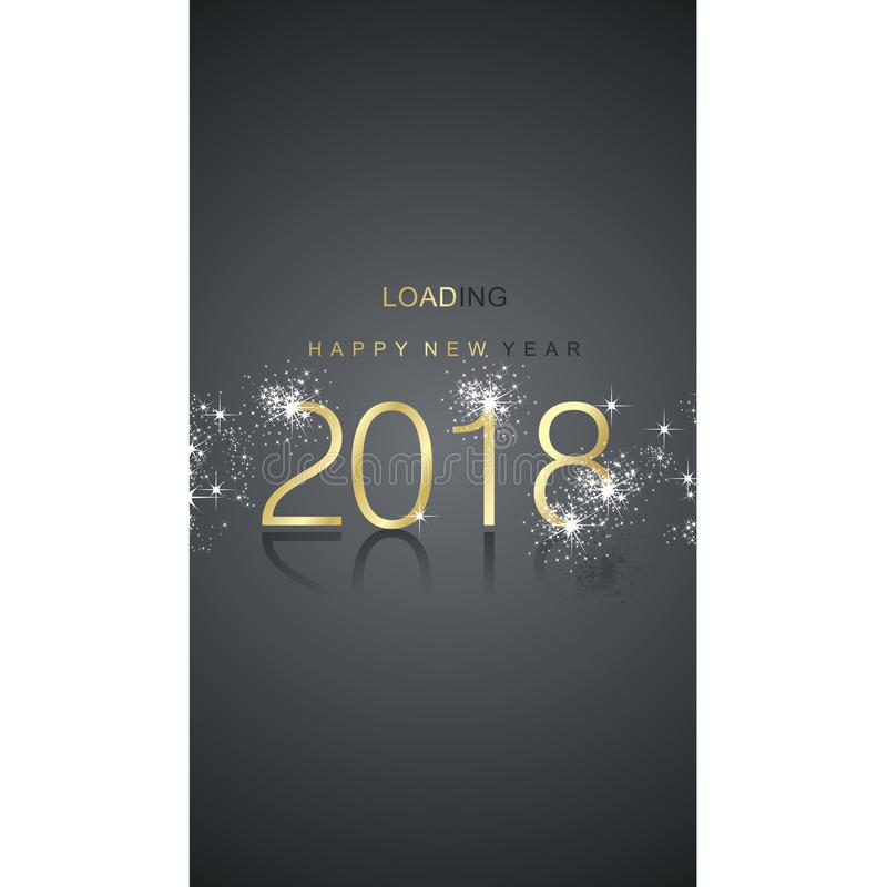 Happy New Year 2018 loading spark firework gold black greeting card vector illustration