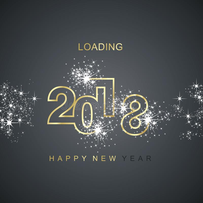 Happy New Year 2018 loading spark firework gold black vector. Happy New Year 2018 loading spark firework gold black background vector royalty free illustration