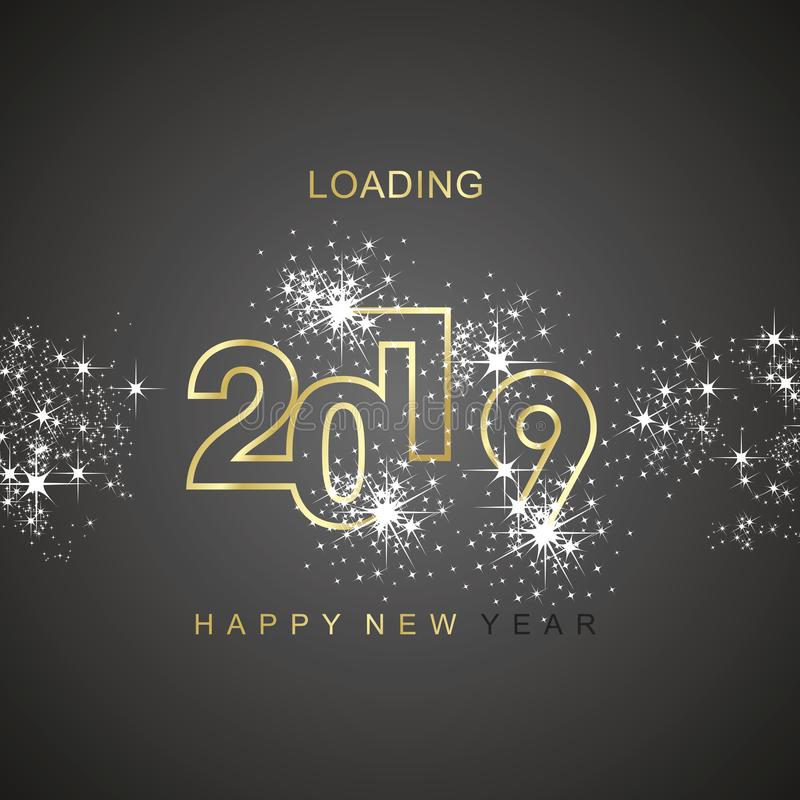 Happy New Year 2019 loading spark firework gold black vector logo icon. Vector background greeting card banner vector illustration