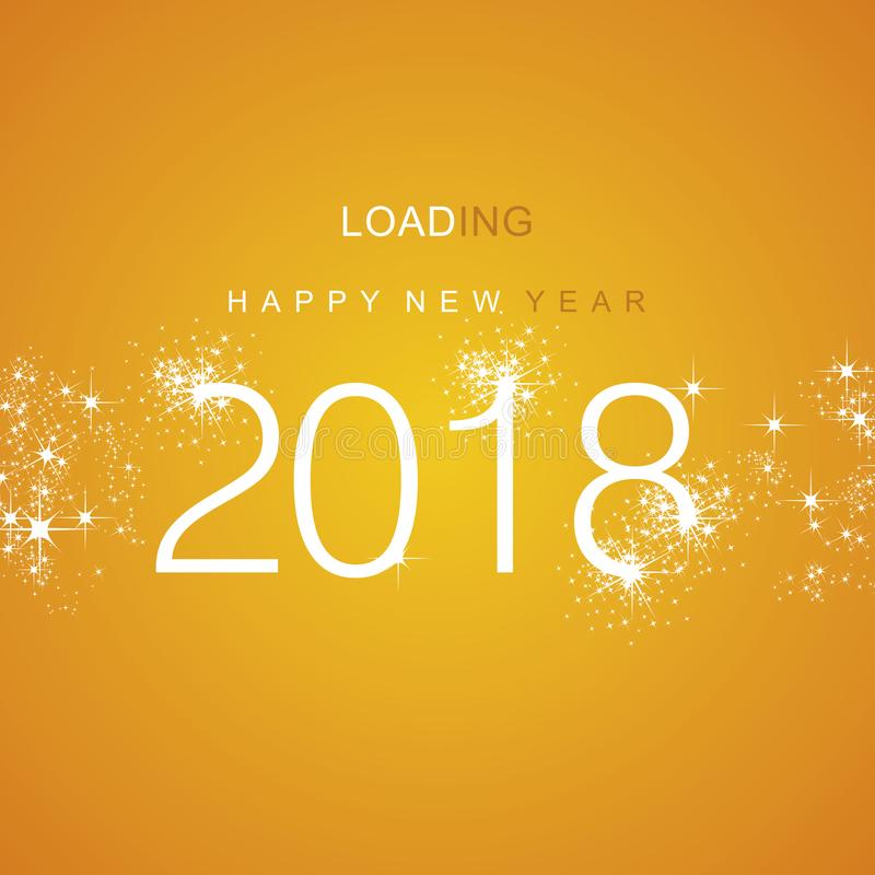 Happy New Year 2018 loading spark firework white orange vector. Happy New Year 2018 loading spark firework white orange background vector stock illustration