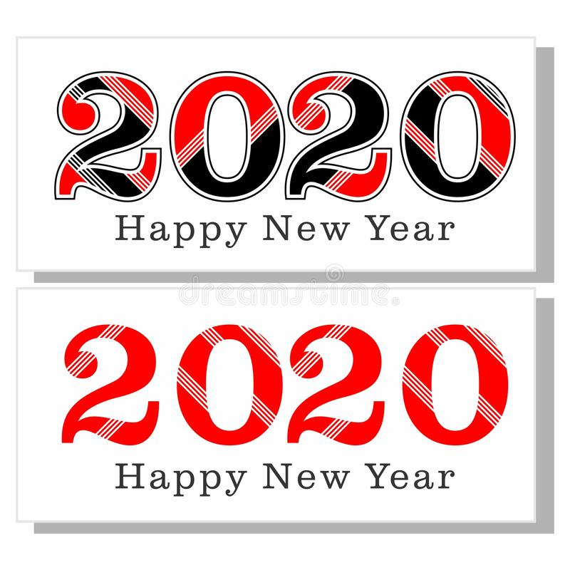 Happy new year 2020 logo black and red royalty free stock image
