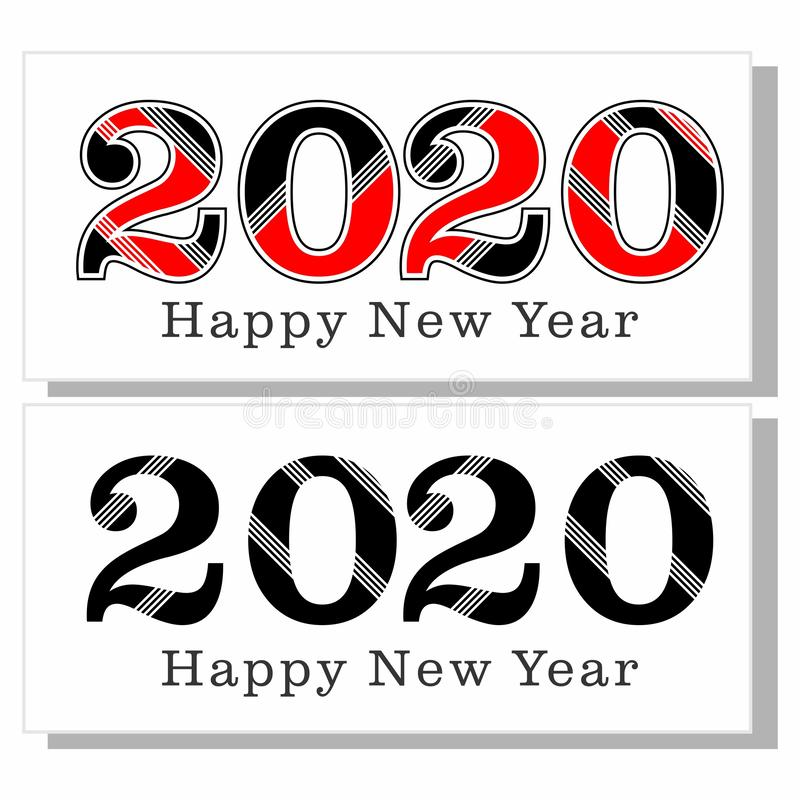 Happy new year 2020 new logo black and red stock photos