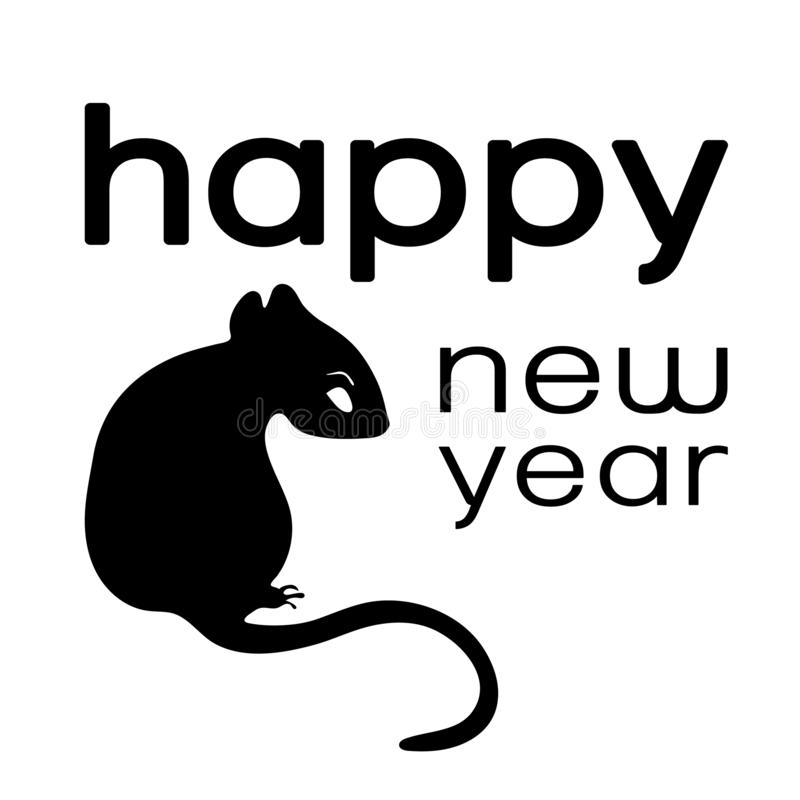 Happy New Year logo, card , 2020 icon, symbol of the year according to the eastern Chinese calendar, monochrome banner, vector royalty free illustration