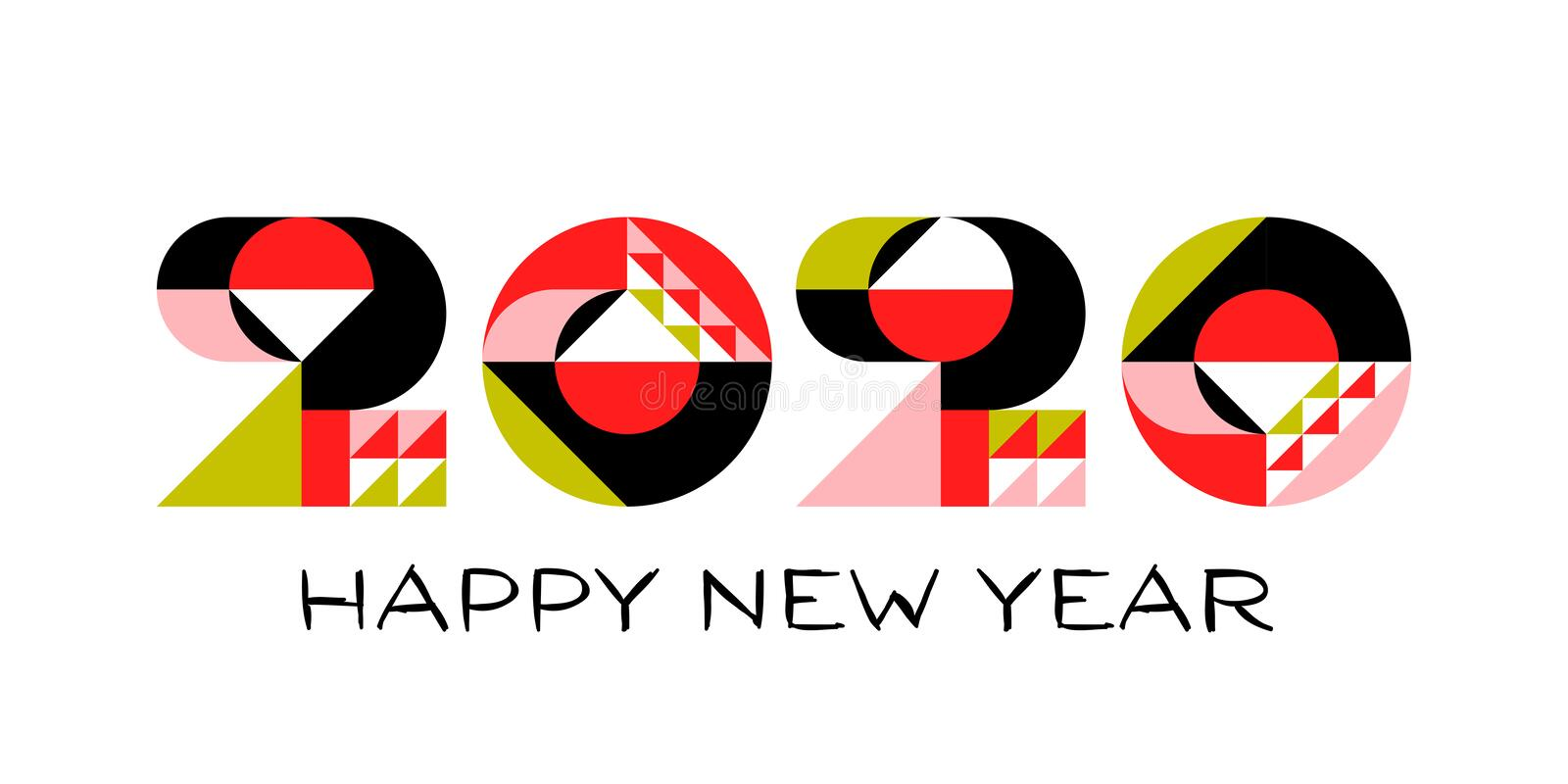 Happy New Year 2020 logo design with multicolored geometric numbers with abstract design elements on white background stock illustration