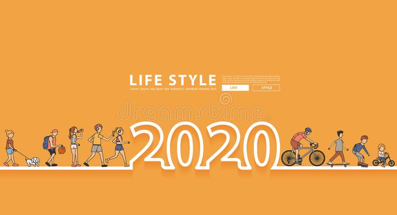 Happy New Year 2020 logo line text design with group of people workout stock illustration