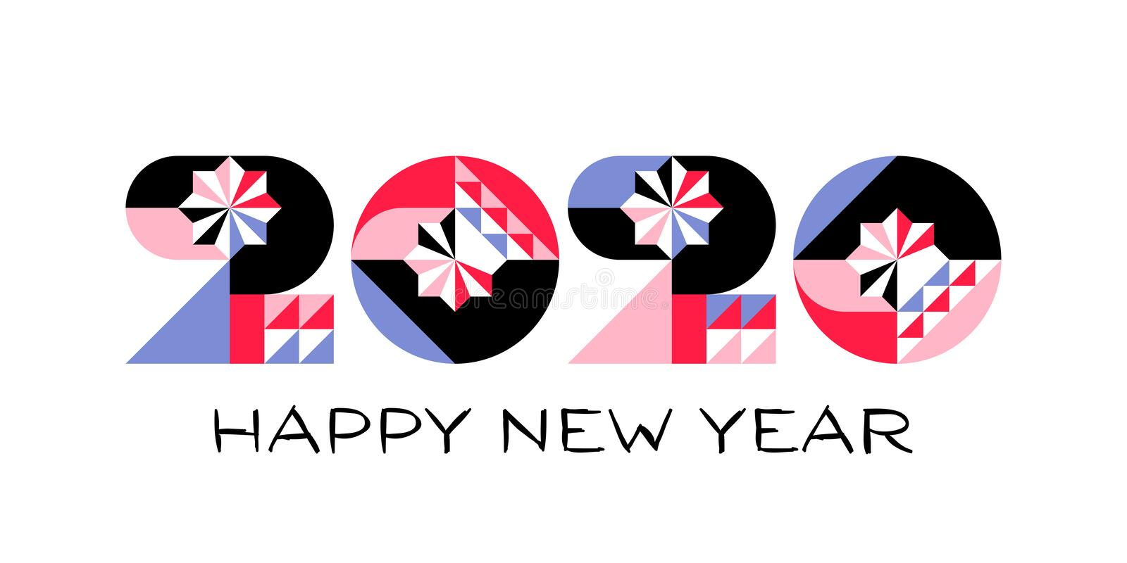 Happy New Year 2020 logo with multicolored geometric numbers with abstract design elements on white background royalty free illustration