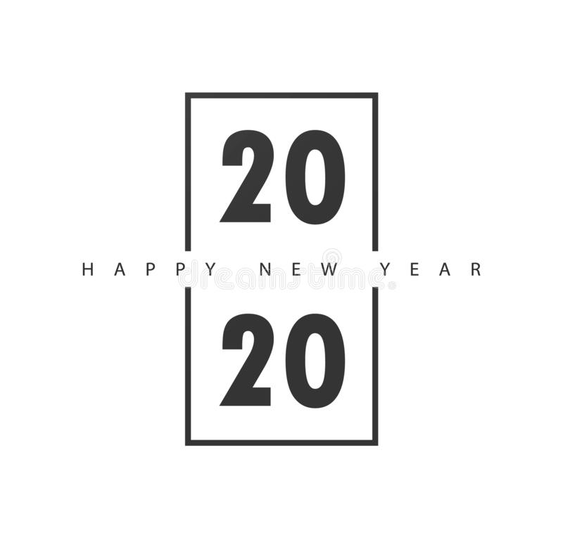 Happy New Year 2020 logo text design.Brochure design template, card, banner. Vector illustration with black holiday royalty free illustration
