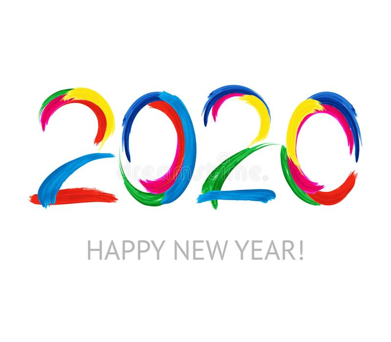 Happy New Year 2020 logo text design. Colorful acrylic splashes. Brochure design template, card, banner. Vector illustration royalty free illustration