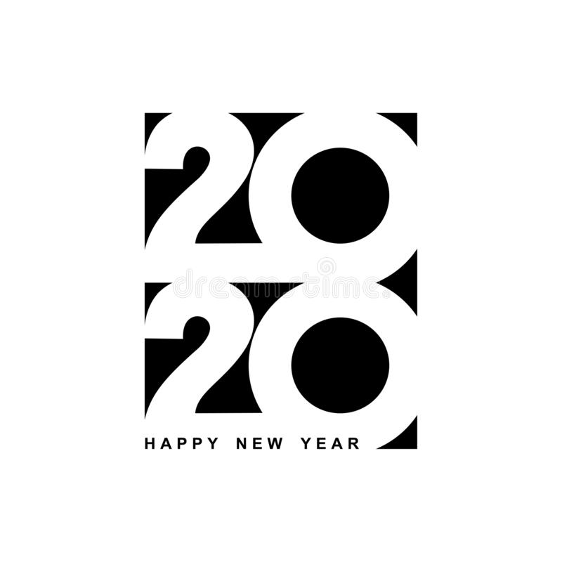 Happy New Year 2020 logo text design. Cover of business diary for 2020 with wishes. Brochure design template, card, banner. Vector stock illustration