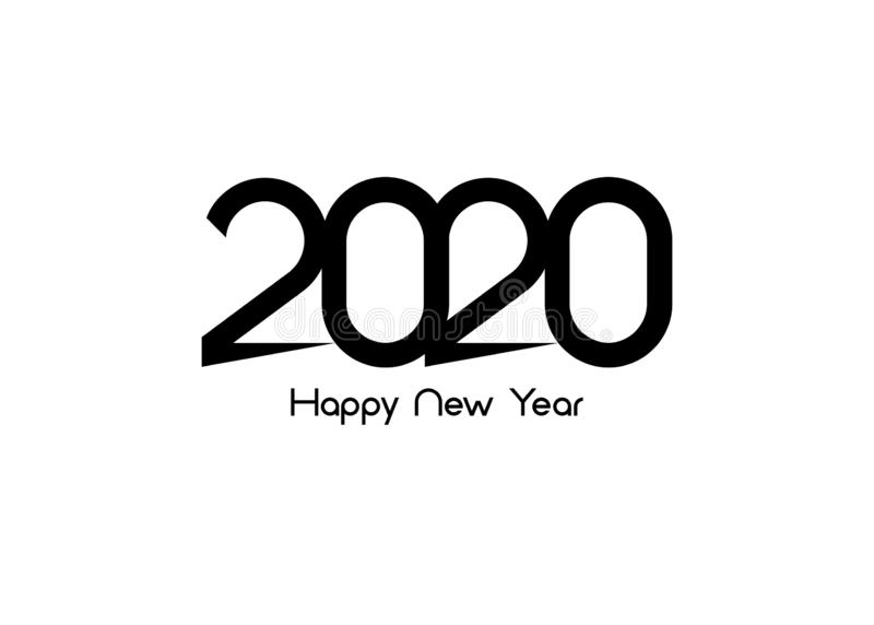 Happy New Year 2020 logo text design. Cover of business diary for 2020 with wishes. Brochure design template, card, banner. Vector vector illustration