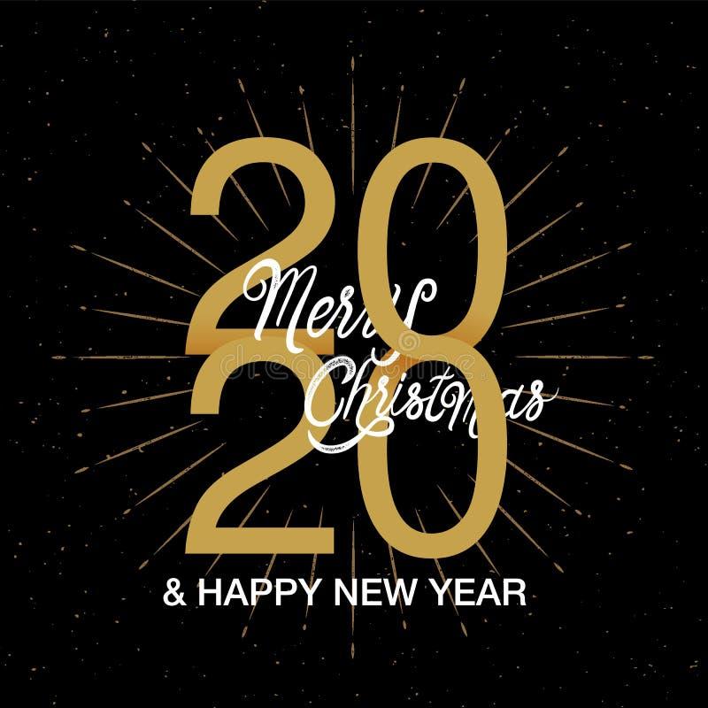 Happy New Year 2020 logo text design. Merry Christmas  ,design template, Vector illustration stock illustration