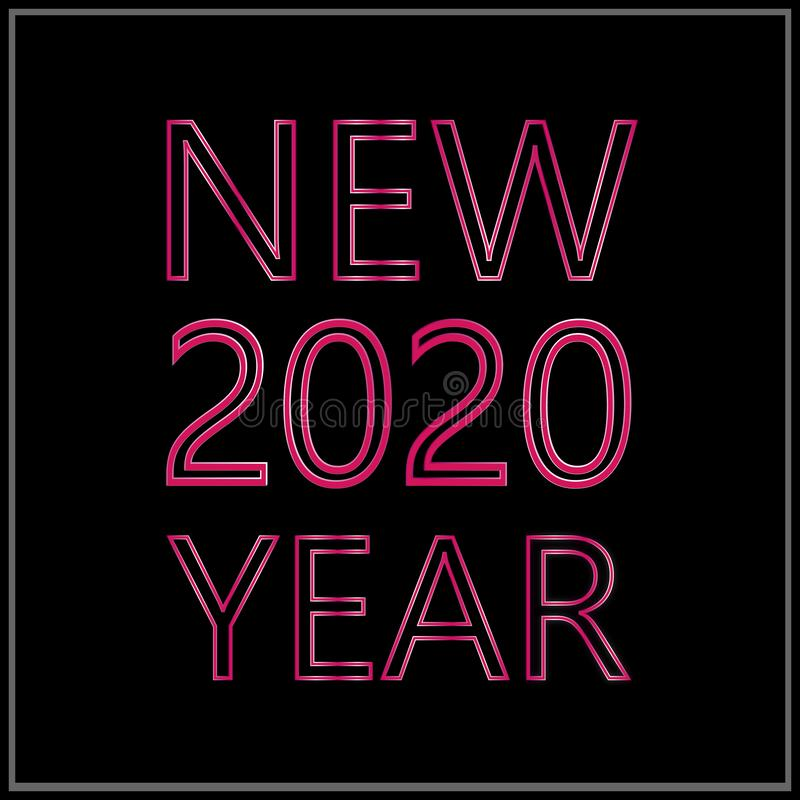 Happy New Year 2020 Logo Vector Template Design Illustration stock photography