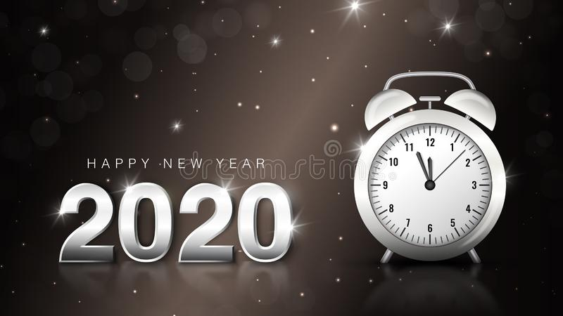 Happy new year 2020 luxury banner. Silver Numbers Design of greeting card. Happy New Year and Merry Christmas background vector illustration