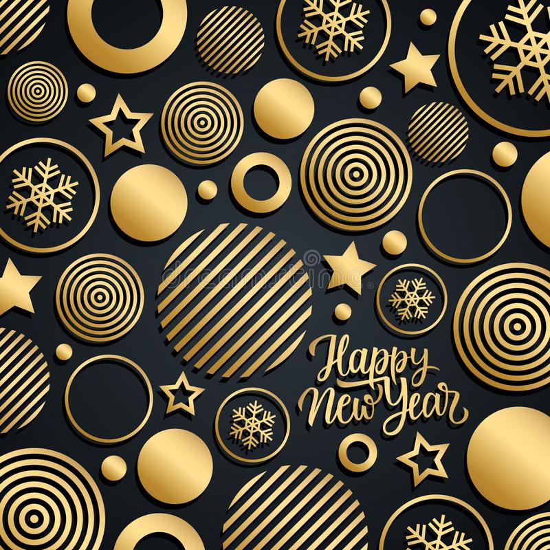 Happy New Year luxury celebrate card with gold handwritten new year holiday greetings. royalty free illustration