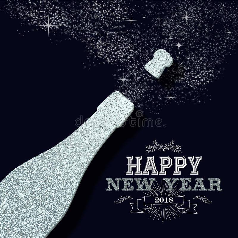 New year 2018 party silver glitter greeting card stock vector happy new year 2018 luxury champagne bottle made of silver glitter sparkle ideal for greeting card or elegant holiday party invitation eps10 vector stopboris Choice Image