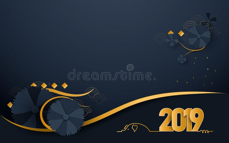 Happy new year 2019. Luxury gold and dark blue with Oriental Blooming Flowers paper cut art and craft style background stock illustration