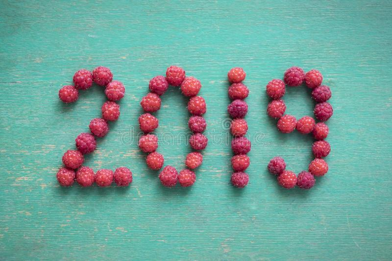 Happy new year 2019 made of berries on a blue wooden background.  royalty free stock photo