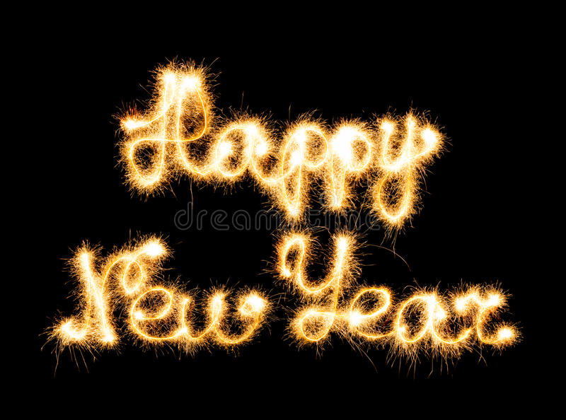 Happy New Year made of sparkles royalty free stock photography