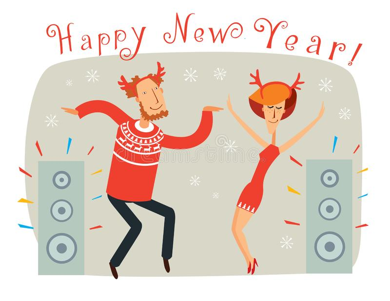 Happy New Year. Man and woman in Christmas outfits dance. Vector full color graphics with cute characters royalty free illustration